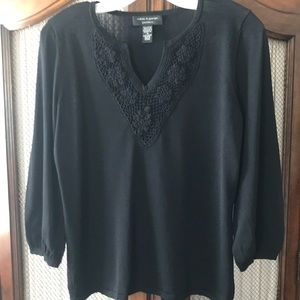 Cable & Gauge black lace trimmed sweater.
